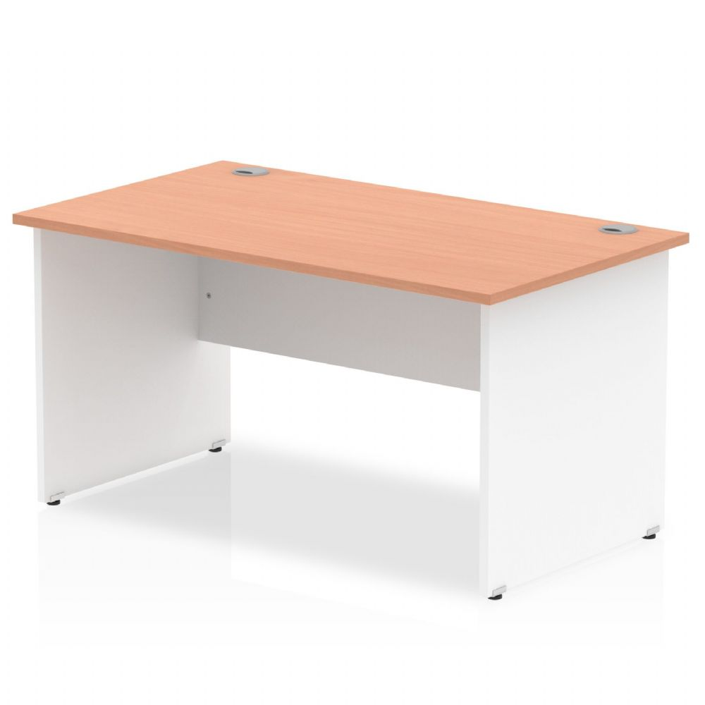 1200 x 600mm Rectangle Desk, White Panels, Beech, Maple, Oak & Light Walnut Finish